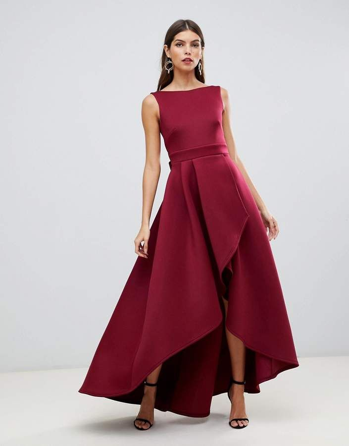 3682f8a083ac True Violet high low scuba maxi dress with open back bow detail in wine