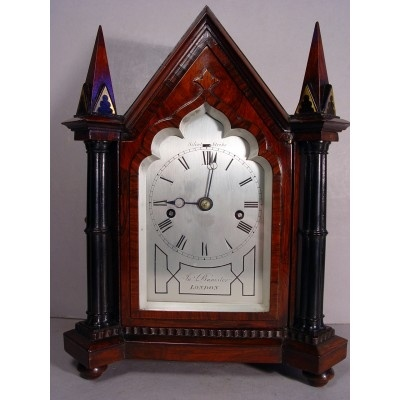 Early Victorian Gothic English Rosewood Bracket Clock