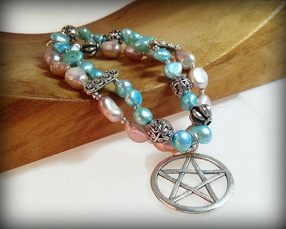 Pentacle jewelry wicca gifts pearl pentacle by ColourMystic