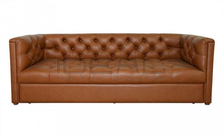 Sofy Stylowe - Sofa Chesterfield London Z Pojemnikiem W Skórze - Ideal Meble (brązowy, brown)