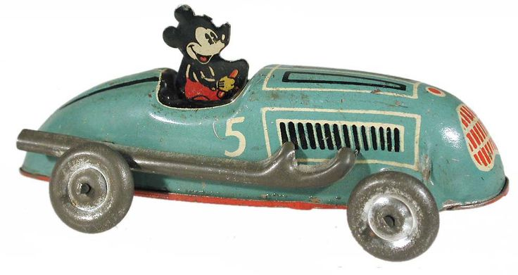 c.1940 Automatic Toy Co., Mickey Mouse Lightning Racer (metal wheels)