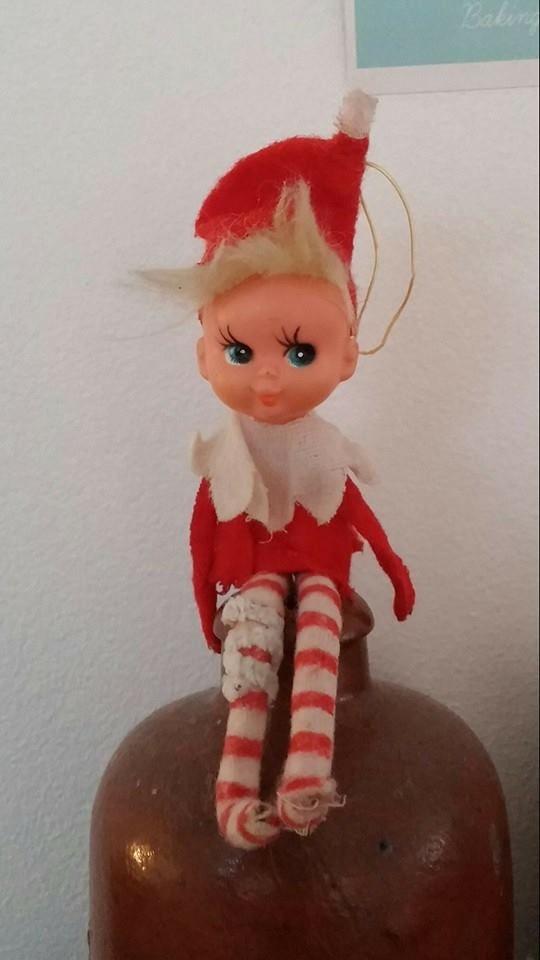 Elf on the Shelf  well loved little elf, ca. 1950.  #elfontheshelf #markedslopper