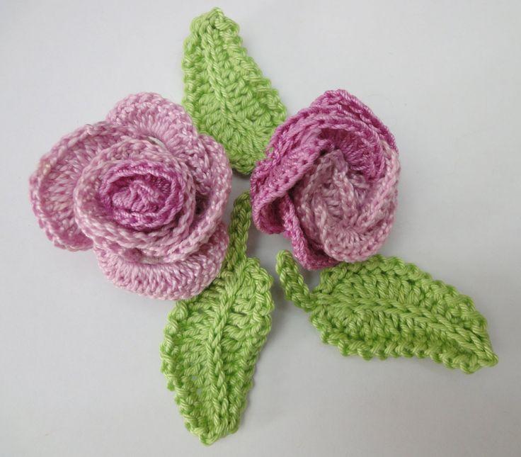 Роза из колец + листочек Вязание крючком Rose from rings + leaf Knitting...