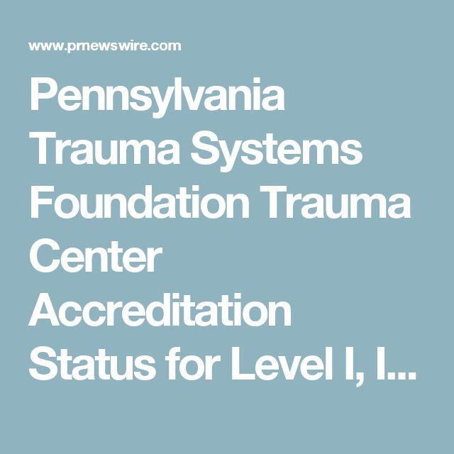 Pennsylvania Trauma Systems Foundation Trauma Center Accreditation Status for Level I, II and III