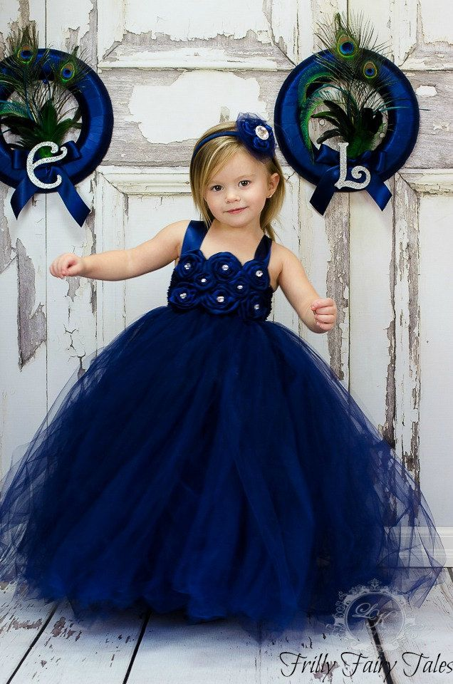 Navy Blue Flower Girl Dress by FrillyFairyTales on Etsy, $90.00