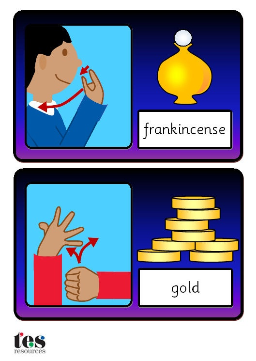 A set of flash cards showing 12 sign language images linked to the Nativity story. Each sign language image is supported by a picture of the item being signed. Sasssoon font captions. Signs covered are angel, baby, frankincense, gold, light, manger, myrrh, shepherd, shine, stable, stars and wise man