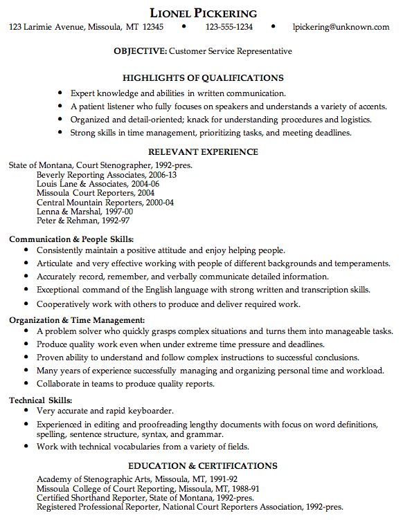 Combination Resume Sample For A Customer Service Rep