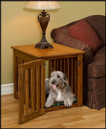 pinnacle handmade wooden dog crate entertainment center end table 1