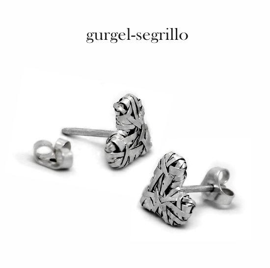 'woven' heart series studs, by gurgel-segrillo