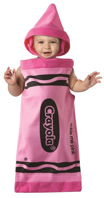 This is the cutest costume for your little Crayola Crayon. Tickle Me Pink crayon bunting with crayon tip hat. The adorable Pink Crayola Crayon Bunting costume will show everyone that your little one is the brightest crayon in the box. #yyc #Calgary #costume #CrayolaCrayon #babysfirsthalloween