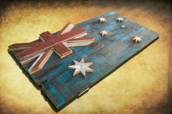 This 3D, one of a kind, weathered old barn wood, hand painted, distressed Australian flag wall hanging art is the perfect addition to any room! ***!!!SHIPPING IS INCLUDED FOR THIS ITEM!!!! *** I will be limiting this piece to only 100 total flags. Comes with everything needed to hang on the wall. The first one sold is the one you see in the photos unless you would like another size. The colors and distressed look truly fit both modern and rustic decor! Please contact me with the ...