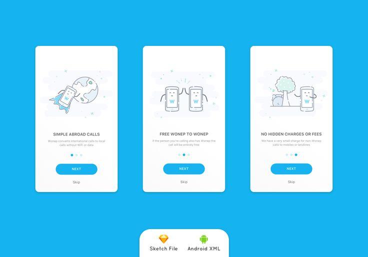 Onboarding Screen International App Call Concept