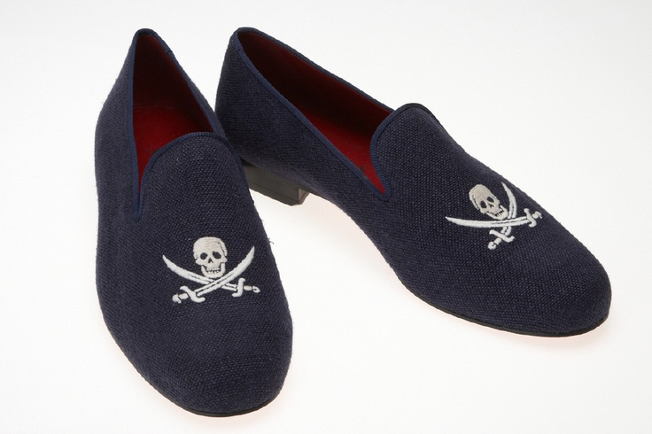Scalpers Black Label - Navy Linen Skull & Bones Slippers. Undeniably stylish for those who like to put an edge on their footwear