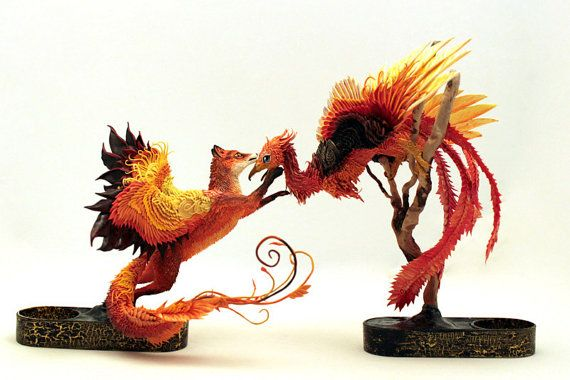 MADE TO ORDER Wedding Sculpture Winged Red Fox Phoenix Animal Totem Figurine Animal Fantasy Art magic spirit amulet