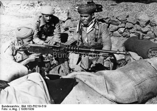 Moroccan MG positions of the Nationalist Army of Africa at Valmojado, near Madrid, 1937.