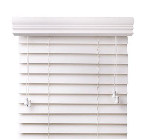Arlo Blinds Super White 2 Inches Customized Real Wood Horizontal Blind Size 32 W X 76 H Inside Outside Mount In 2020 White Wood Blinds Faux Wood Blinds Faux Blinds