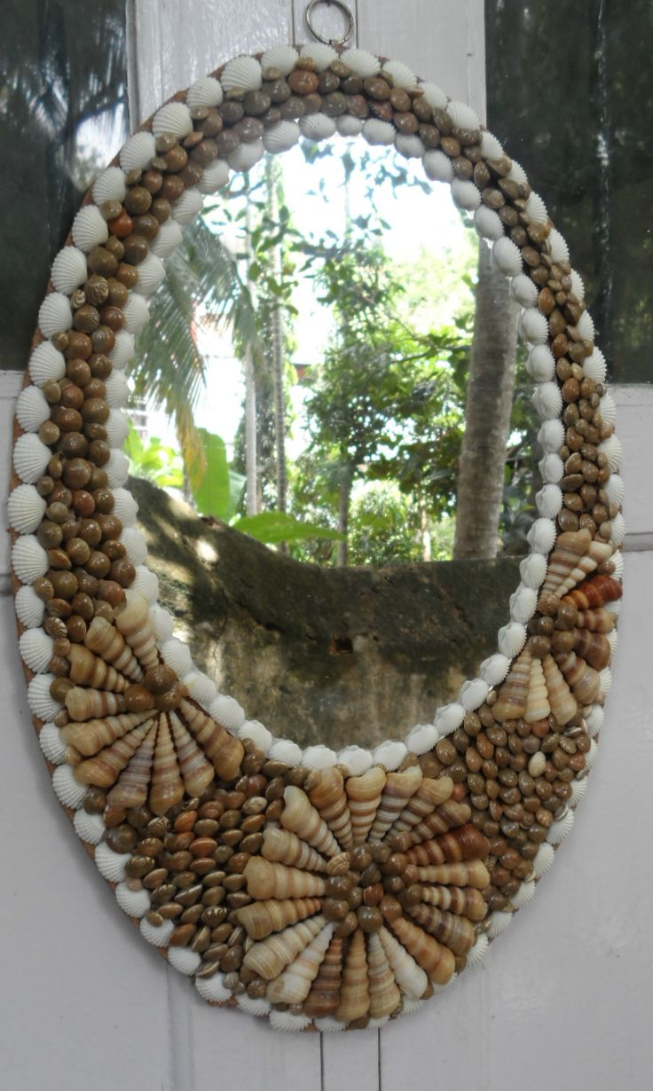 "18""Oval Shape Handcrafted Real Coastal Good Sea Shell Glass Wall Hanging Mirror"