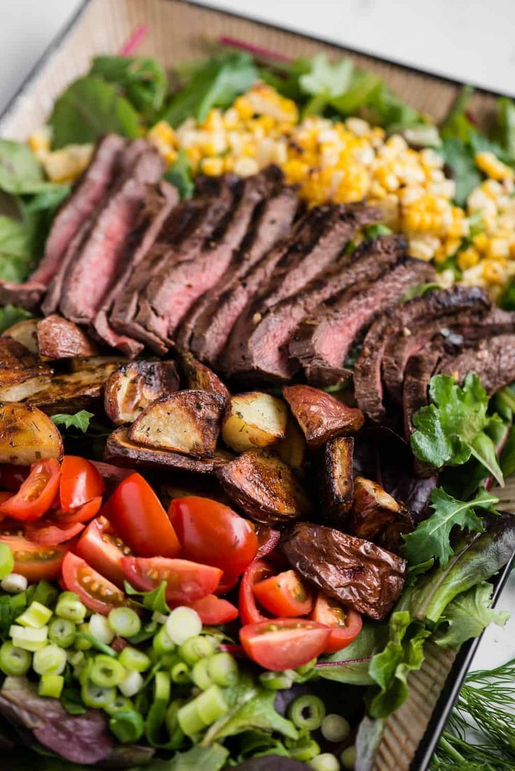This Salad Has Everything To Make A Complete Meal And The Flavor Can T Be Beat Steak Salad Is A Great Dinner Steak Salad Recipe Flat Iron Steak Dinner Salads