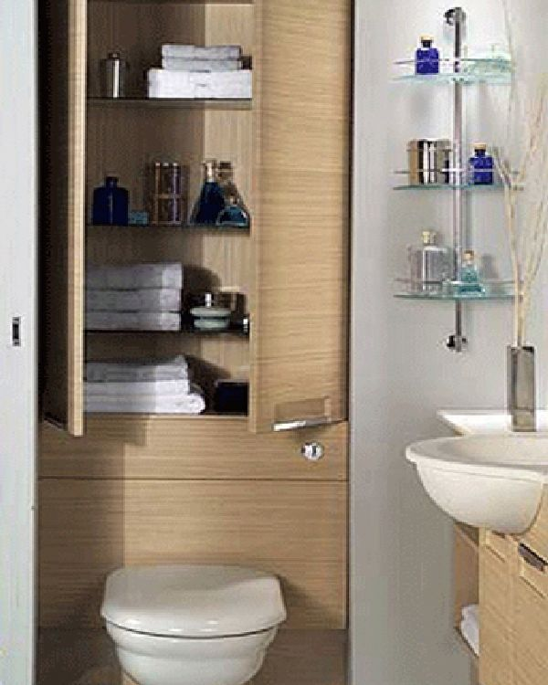 bathroom storage behind toilet and glass design ideas - Bathroom Cabinet Design Ideas