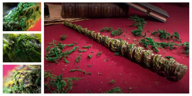 Wands - natural wand - wood, root and moss. By Crafteursdereves
