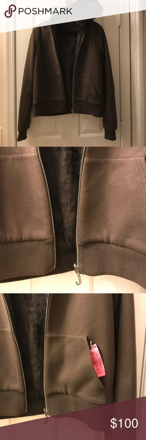 Juicy Couture reversible rabbit fur jacket XL Gorgeous and very versatile. Carefully stored juicy couture reversible rabbit fur hoodie jacket. Fur is 100 percent real rabbit fur. Jacket purchased by me at Neiman Marcus. Juicy Couture Jackets & Coats