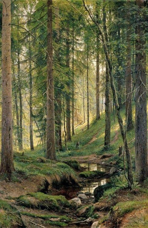 Hermosa Pintura Al Óleo Ivan Ivanovich Shishkin-un arroyo en el bosque