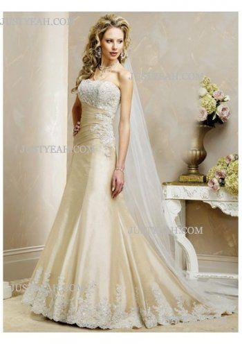 Simple pretty flowery Strapless Wedding Dresses 2016
