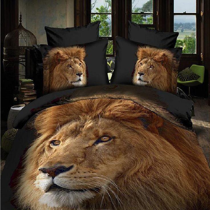 Dekbed Beddengoed Patroon 3D Dier Leeuw Twin Kingsize Bed Set Lakens Beddengoed Kwaliteit Lakens Spreien Decoratie(China (Mainland))