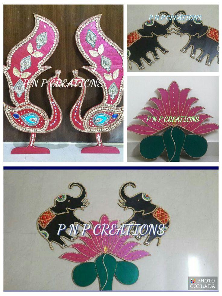 Lotus, Elephant n Peacock MDF board