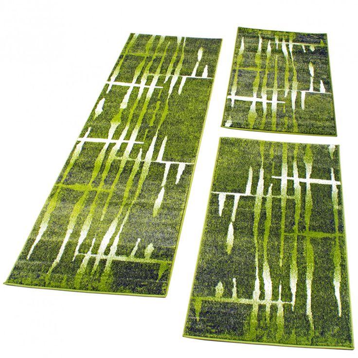 Bettumrandung Lufer Teppich Meliert Design Grn Creme Luferset 3 Tlg Wohn Und Schlafbereich Bettumrandungen