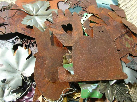 Rusty Metal Shapes - Cats - Leaves - Hearts - Primitive Crafts - Rustic Metal Shape Lot by BohemianGypsyCaravan