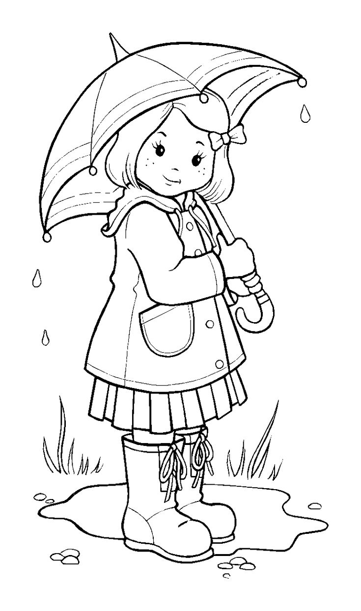 Free coloring pages rain - Rainy Weather Coloring Pages To Coloring On Page Girl On The