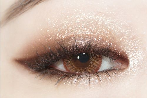 Shimmering brown eye makeup