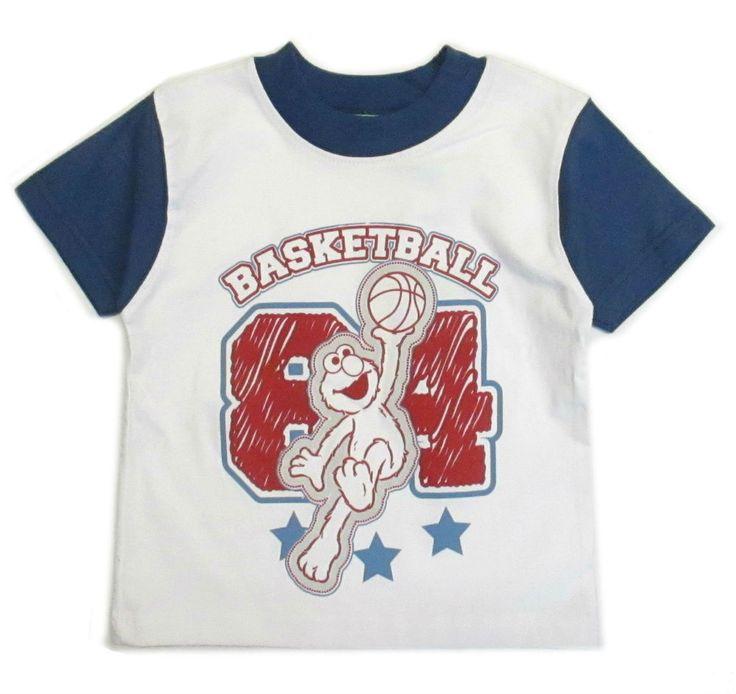 Sesame Street Toddler Boys Elmo Character Tee Shirt Basketball  2t 3t 4t Nwt #SesameStreet #BirthdayEveryday