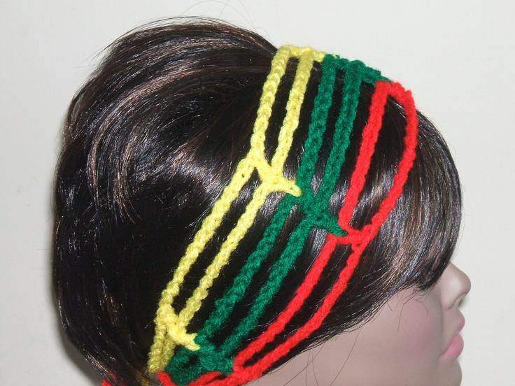 Crochet Gipsy Rasta Hair Wrap Headband in Rasta colors. $9.00, via Etsy.