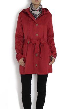 kırmızı bayan trençkot