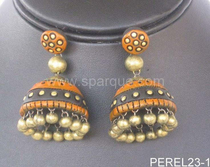 terracota jewelery | Terracotta Jewelry: Beautiful handmade Jhumkas (Earrings) made from ...