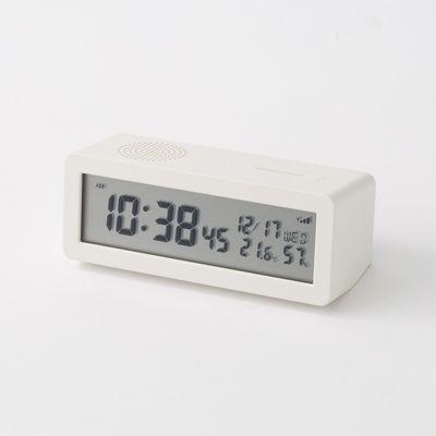 デジタル電波時計(大音量アラーム機能付) 置時計・ホワイト | 無印良品ネットストア