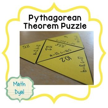 Your students will love practicing the Pythagorean Theorem with this hands-on activity by Math Dyal. The puzzle has 18 problems where students must solve for the missing side. This activity will encourage mathematical discourse as students self-check their answers as they create the puzzle.