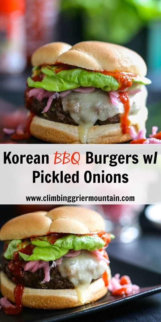 Climbing Grier Mountain korean barbecue burger with pickled onions ...