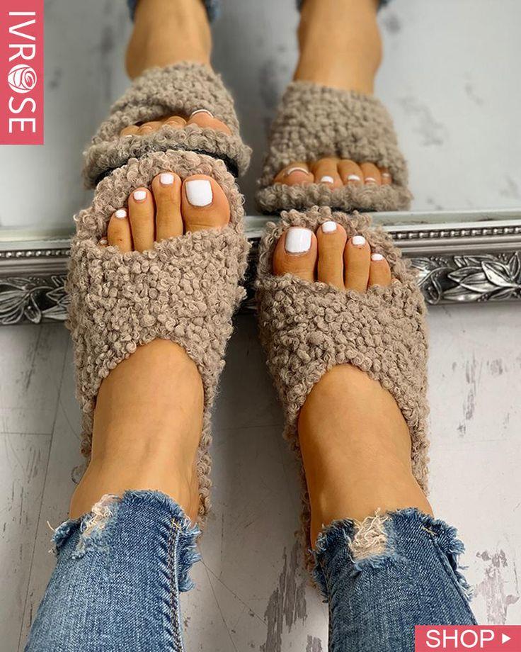 Solid Fluffy Crisscross Design Flat Sandals – stricken & häkeln, sticken