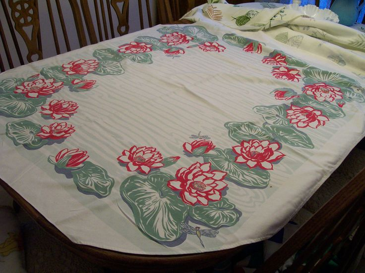 """Vintage Tropical Tablecloth Lilies Lily Pad Dragon Fly Circa 1950s 40"""" x 50"""" Bold Red Flowers Green Lily Pad Unusual Must See by FabVintageEstates on Etsy"""