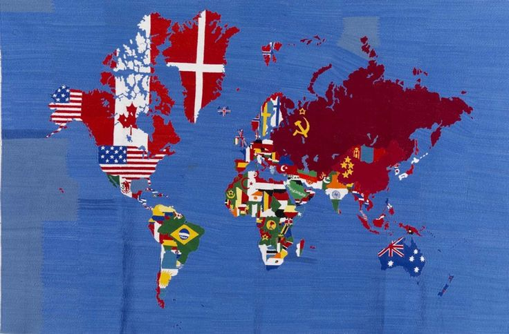 Alighiero Boetti, Mappa, 1989-94, broderie sur tissu, cm 105 x 155 / in 40.6 x 61