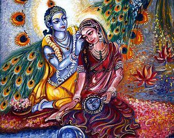 Vintage Radha Krishna Painting Original Art Leela Divine