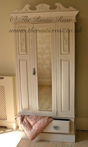 Our beautiful French style vintage wardrobe, painted in Farrow & Ball Slipper Satin...