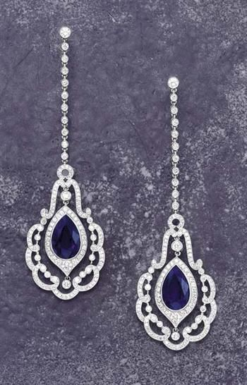 A Pair of Unheated Burma Sapphire and Diamond Earrings