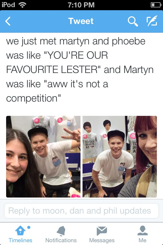 Aww Martyn worked at the Dan and Phil booth at Summer in the City! I wonder if Adrian will one day.... // I hope Phil does a 'meet my brother's video one day!<<< awe that's so cute