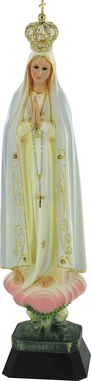 Statua Madonna di Fatima con corona e occhi di cristallo cm 35 (dipinta a mano): Amazon.it: Casa e cucina