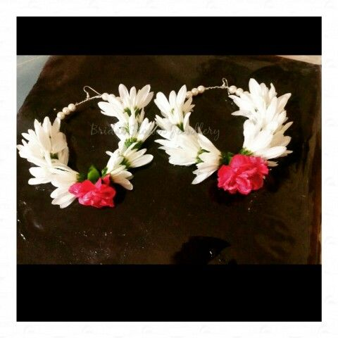 Fresh flower hoops for mehndi party by bridal flower jewellery www.bridalflowerjewellery.weebly.com