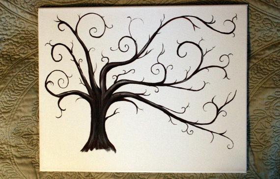 Wedding Thumbprint Trees  Alternative Guest Book  by BlueEyedLass, $70.00